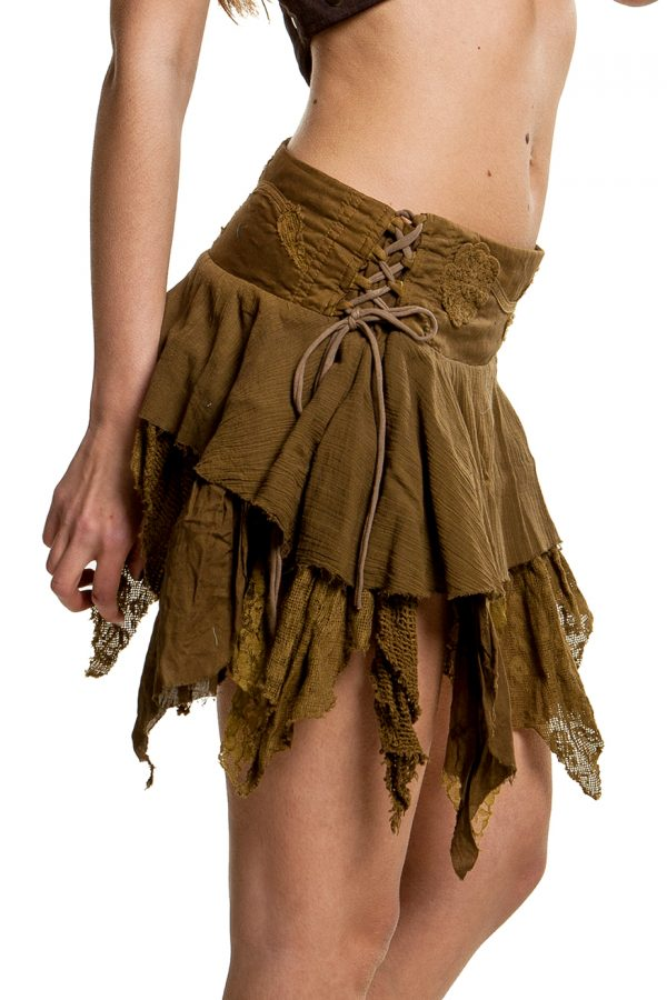 Pointy steampunk skirt waist side ties