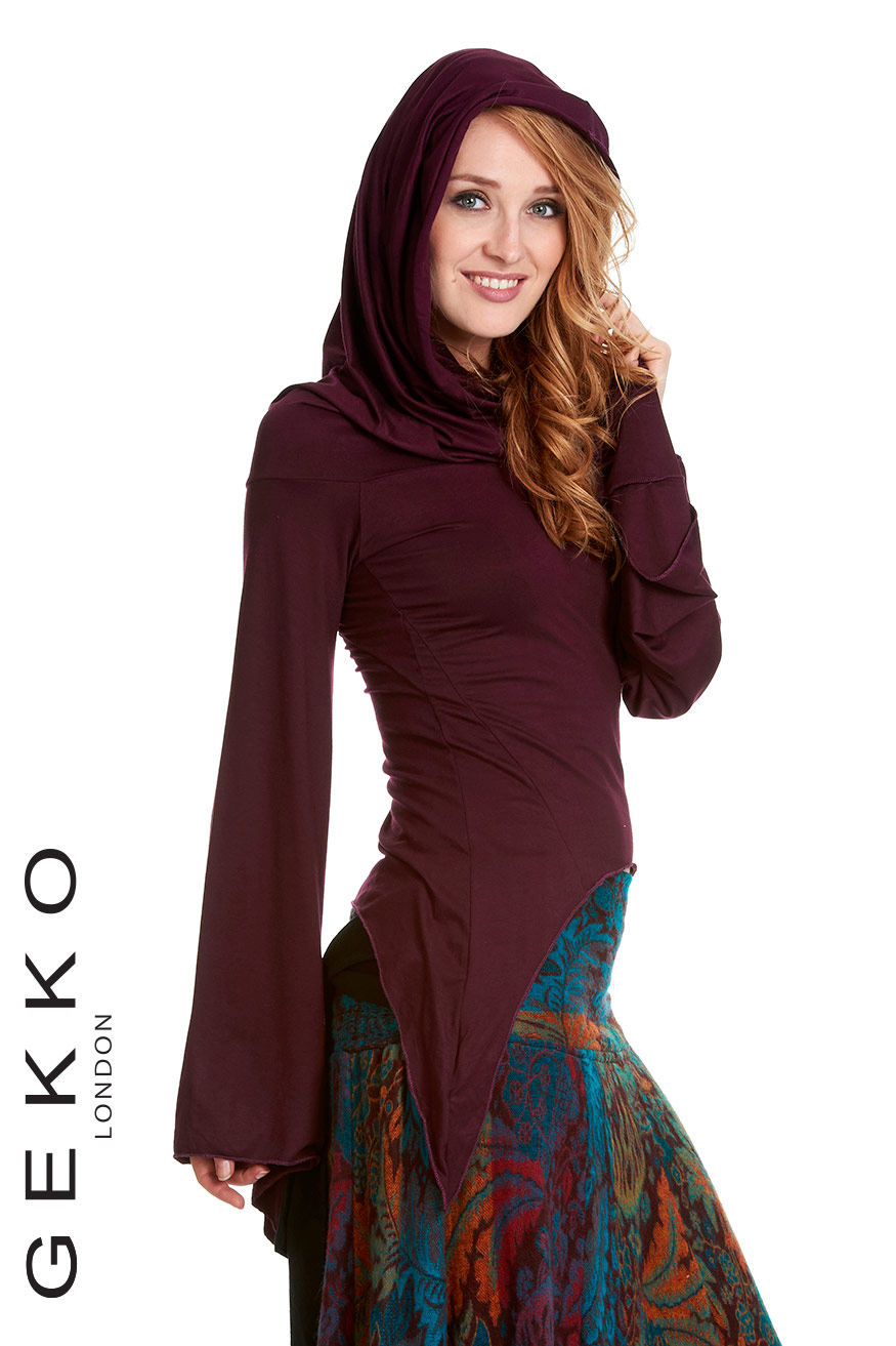 BELL SEEVES TOP WITH PIXIE HOOD