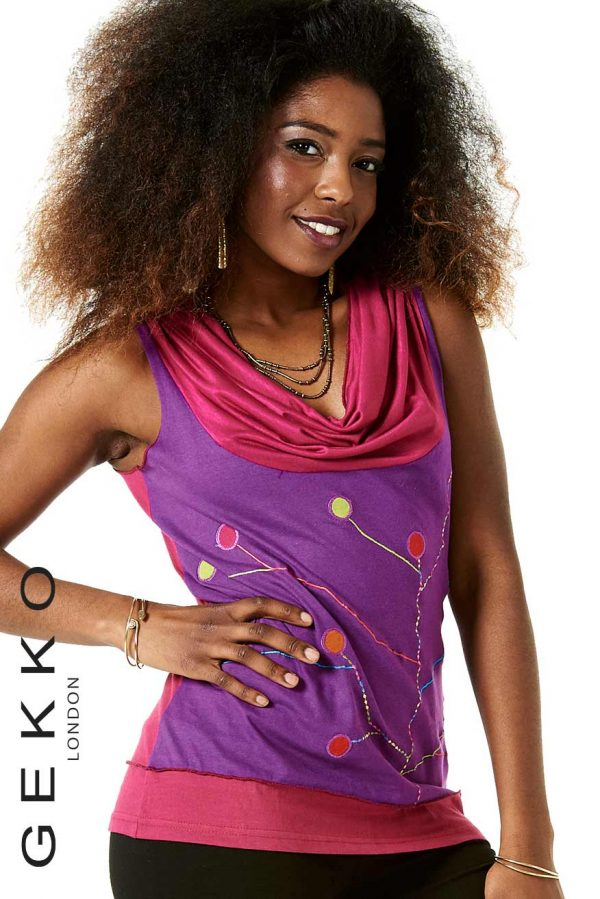 EMBROIDERED VEST WITH COWL NECK