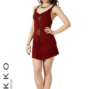SHORT LYCRA DRESS WITH BRAIDED FRONT