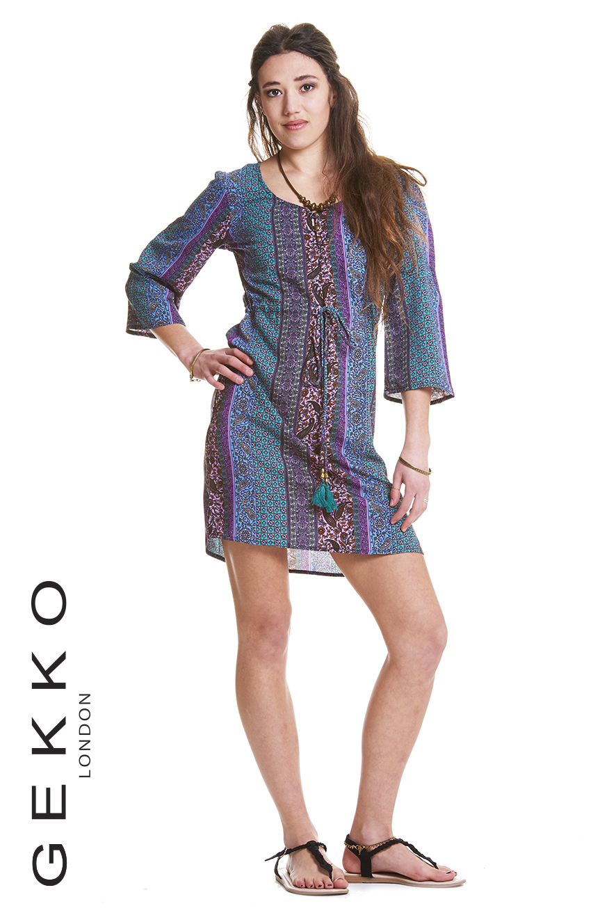 BOHO DRESS WITH POM POM STRING