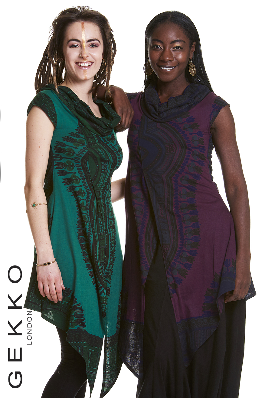 AFRICAN PRINT TUNIC WITH CAP SLEEVES