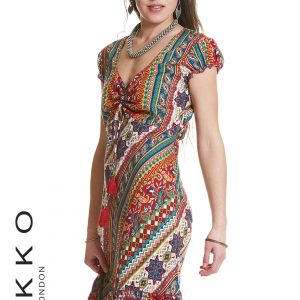 BOHO DRESS WITH CAP SLEEVES