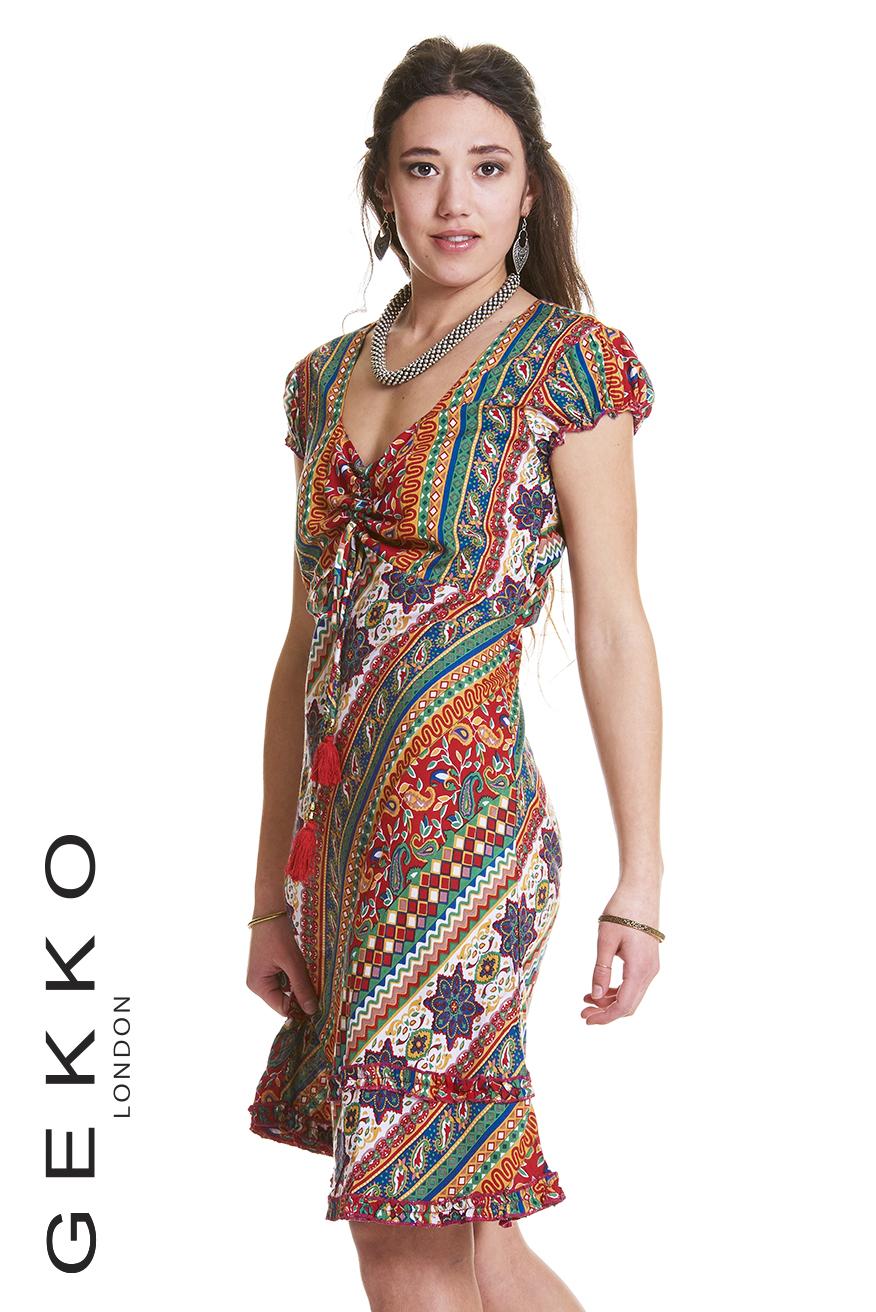 BOHO DRESS WITH CAP SLEEVES – Gekko Bohotique