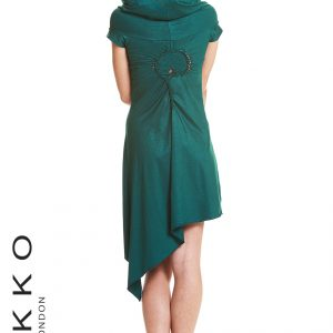 ASYMMETRIC PIXIE DRESS WITH HOOD