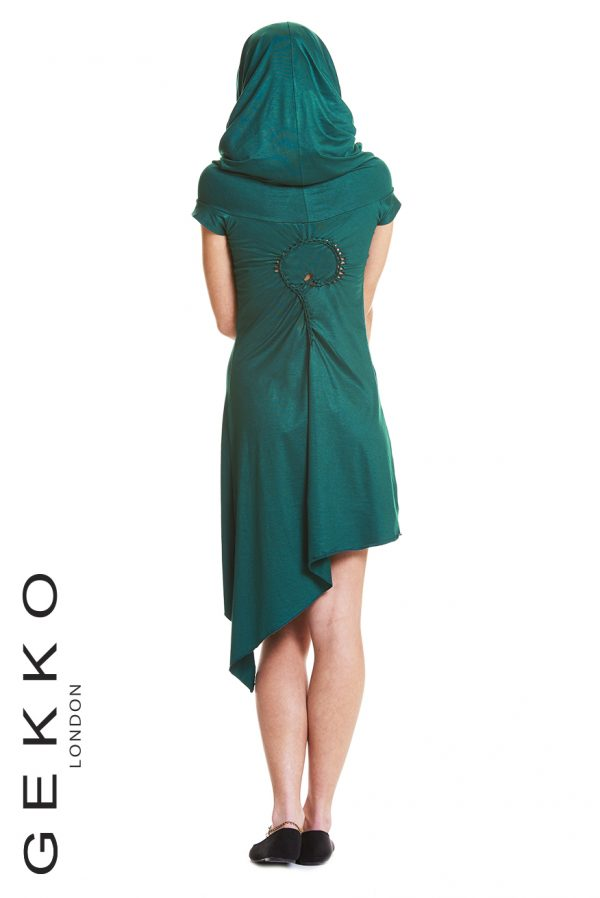 ASYMMETRIC PIXIE DRESS WITH HOOD
