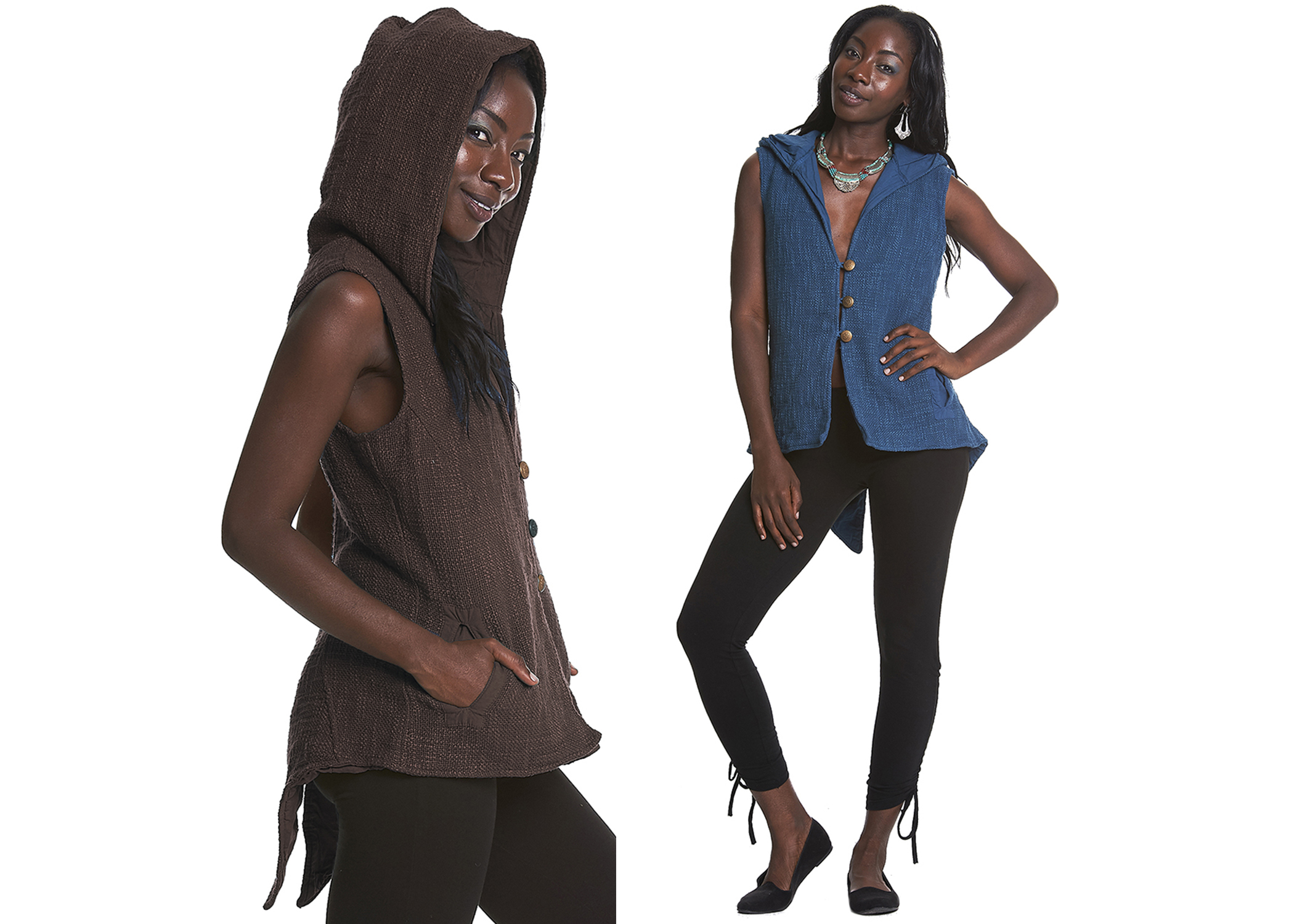 Hooded waist coat with tails