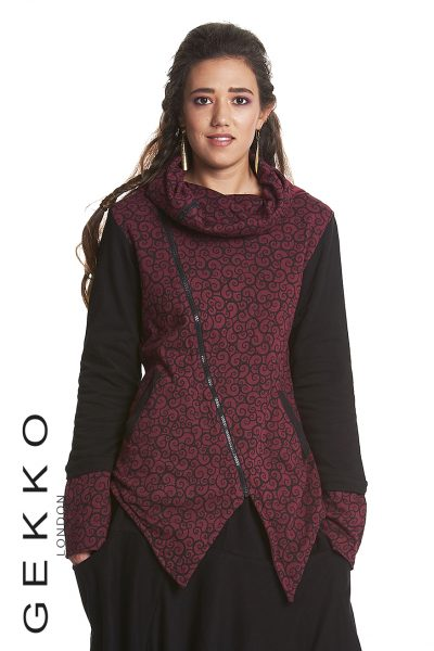 Crossover jacket with arabesque print