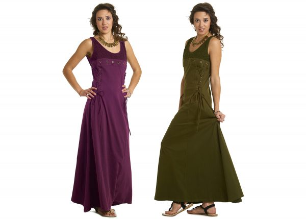 Long Steampunk Dress with scooped neck