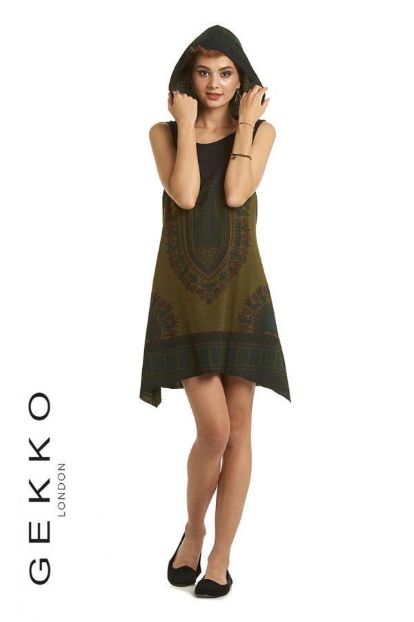 Ethnic Print Dress with Hood
