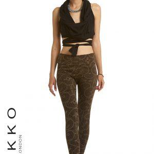 stretch leggings with steampunk motif