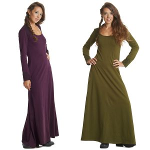 long dress with scooped neck
