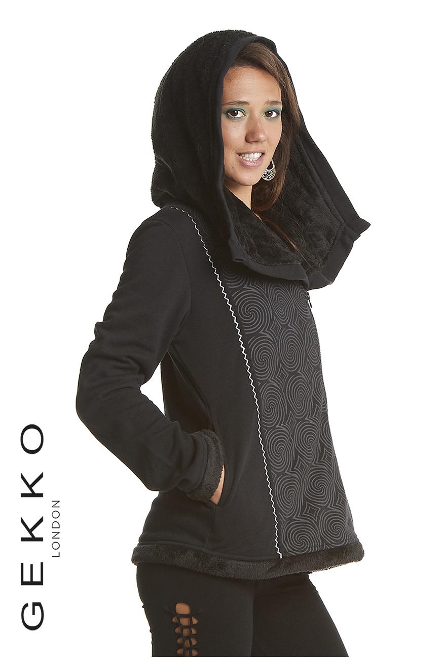 Zipped jacket with fake fur hood