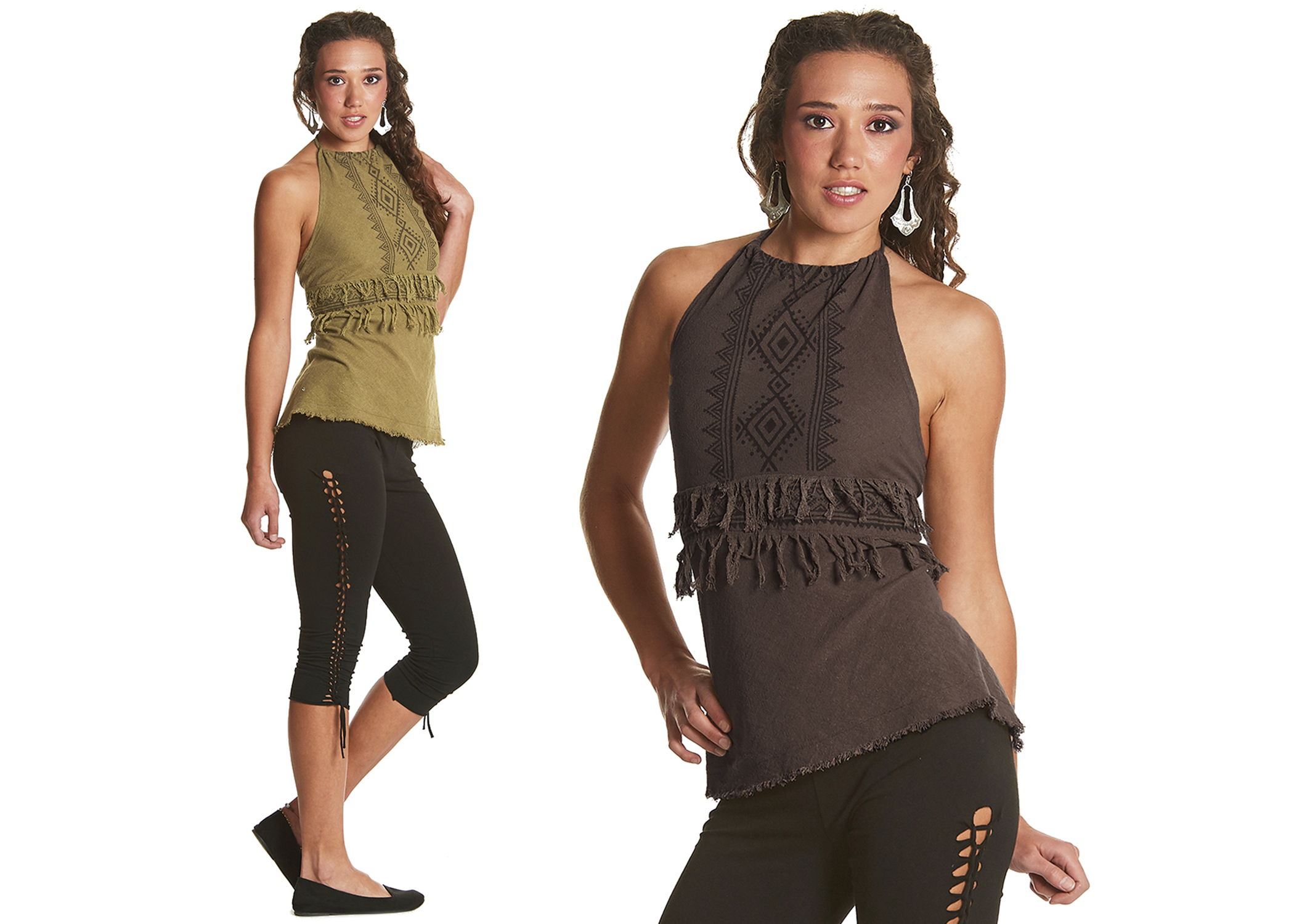 Aztec Print Halter Neck Top