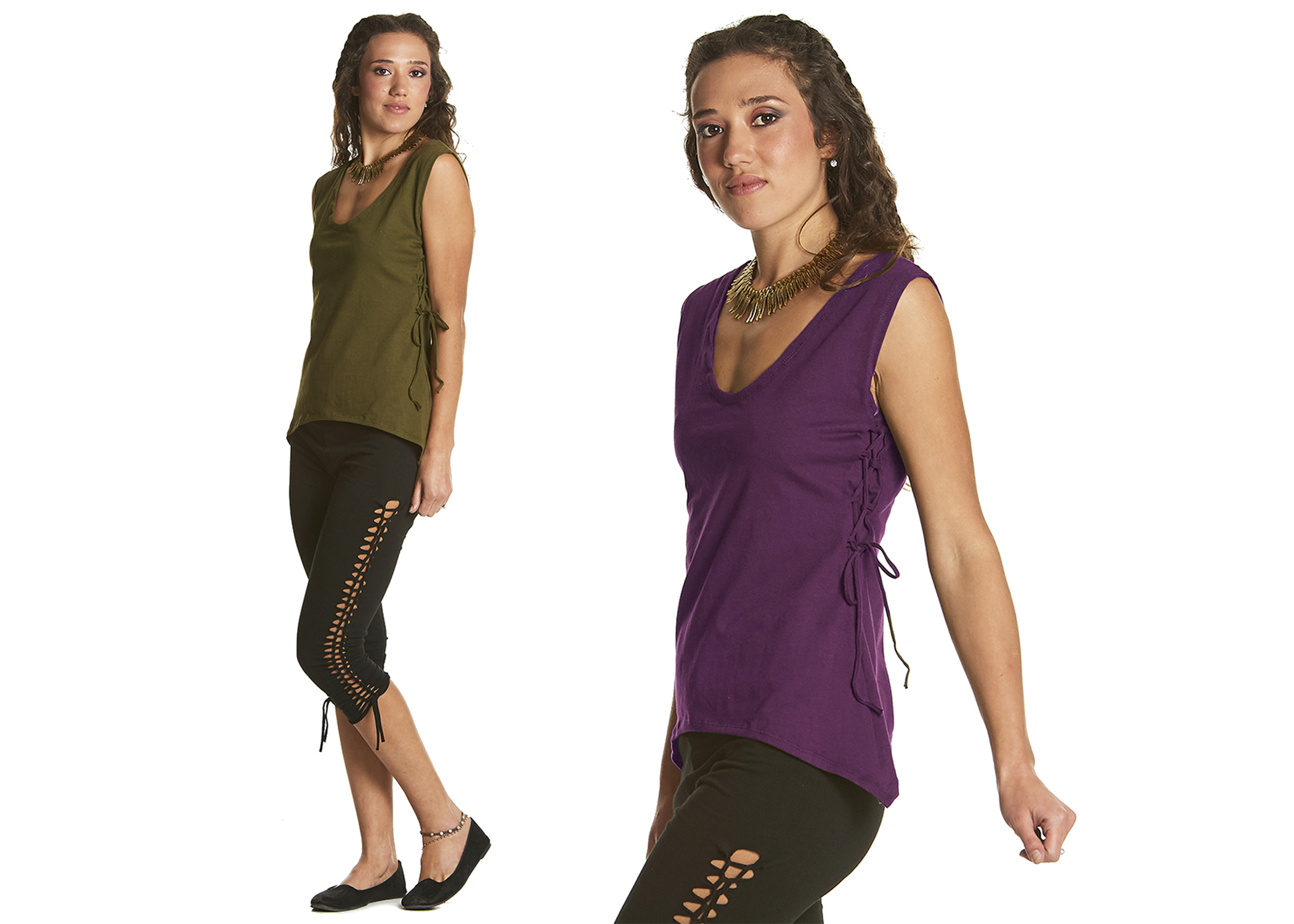 Vest with scoop neck and side lacing