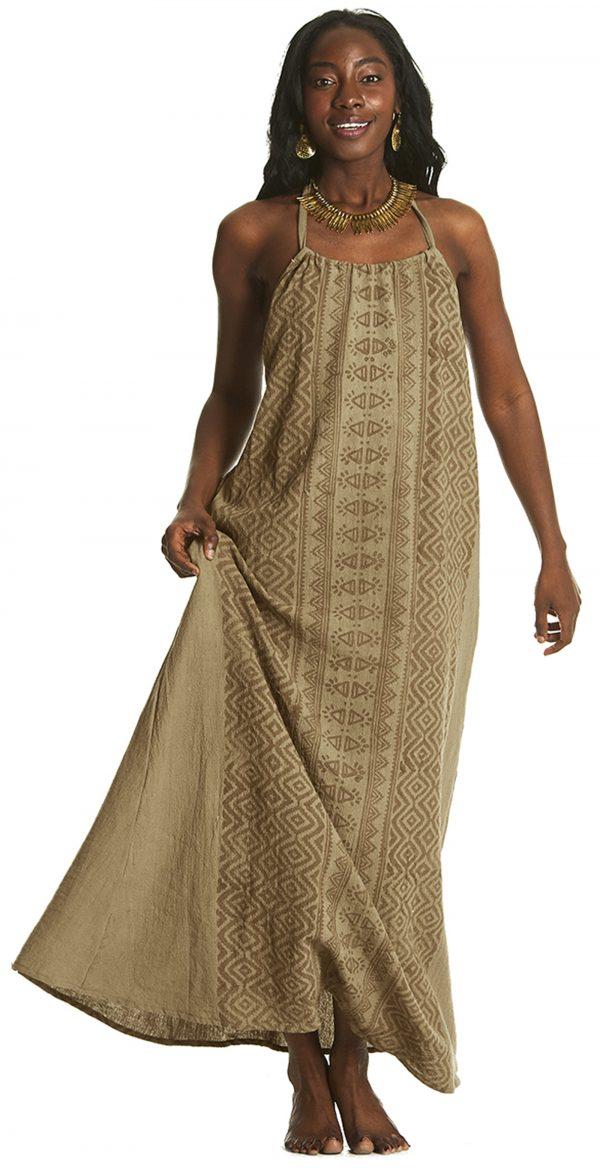long beige dress on beautiful model