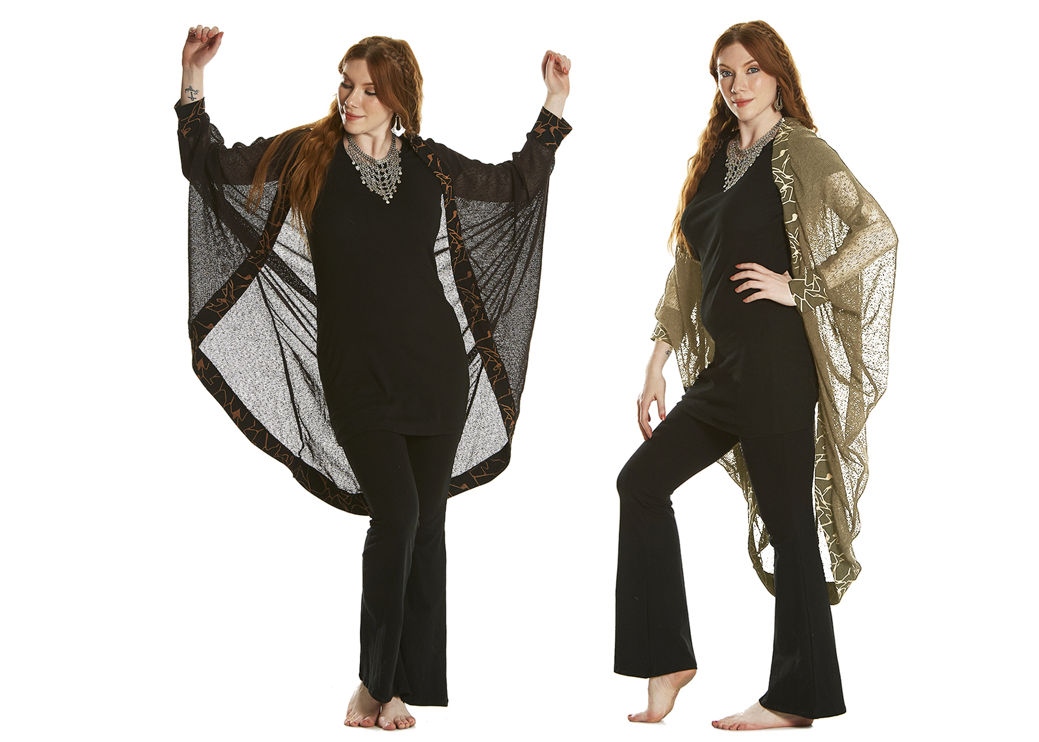 Open Poncho with Printed details
