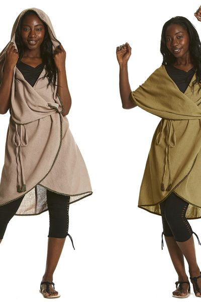 Sleeveless poncho with waist tie