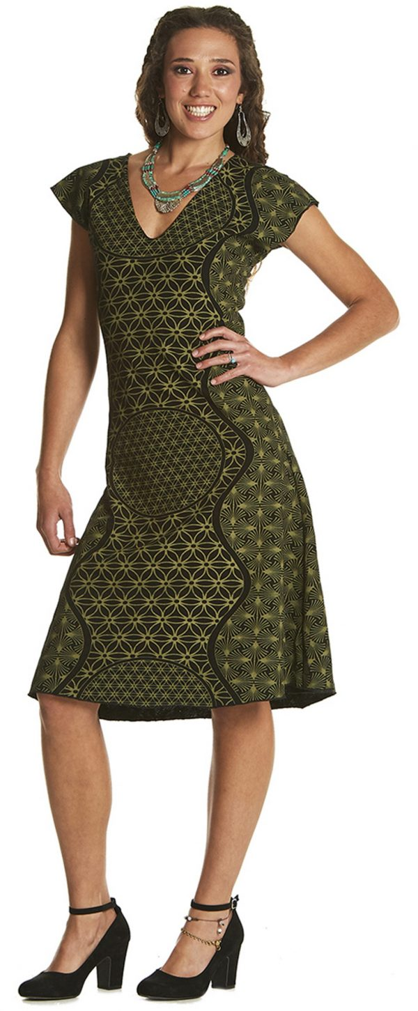 Printed Dress with V-neck