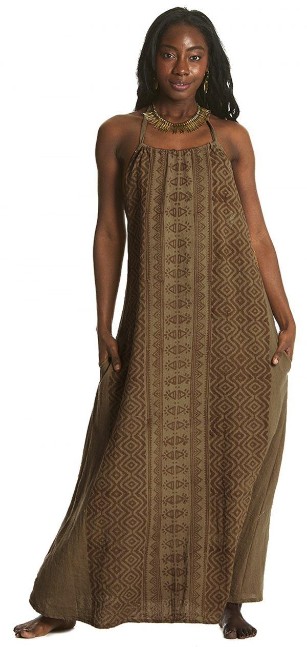 long brown dress on beautiful model