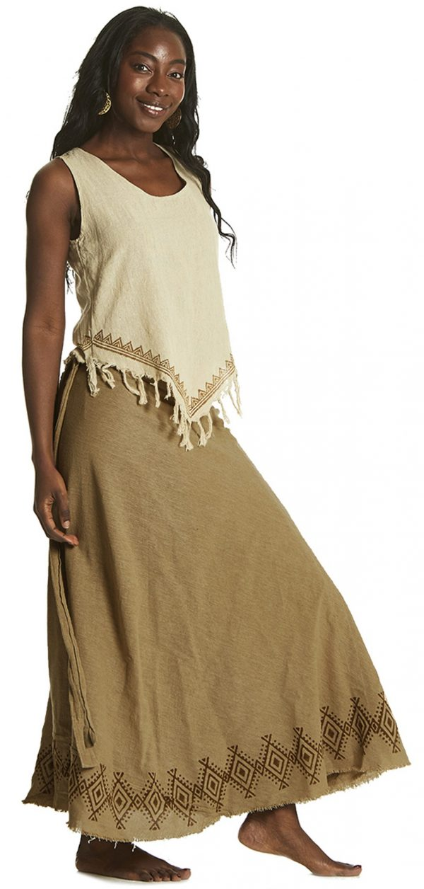 Long Skirt with American Indian Motif