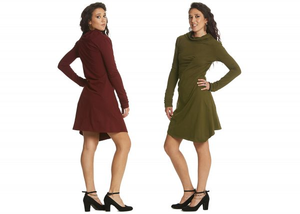 Shift dress with textured front