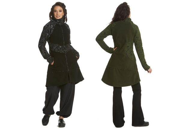 A-line coat with birds print