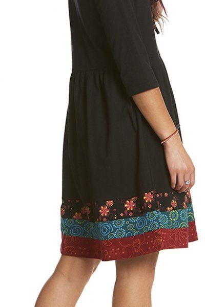 Short dress with printed hem band