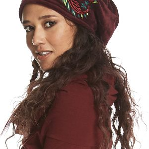 Embroidered velvet cloche hat
