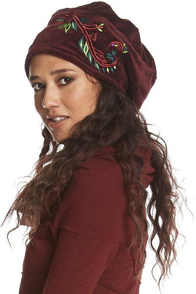 Embroidered velvet cloche hat