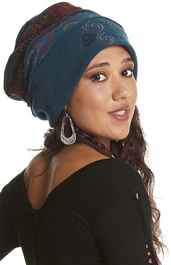 Embroidered fleece cloche hat