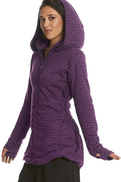 Short Hooded Coat with Flower of Life print